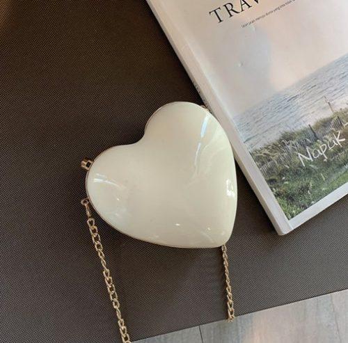 JT180SMALL-white Tas Pesta LOVE Tali Selempang Rantai