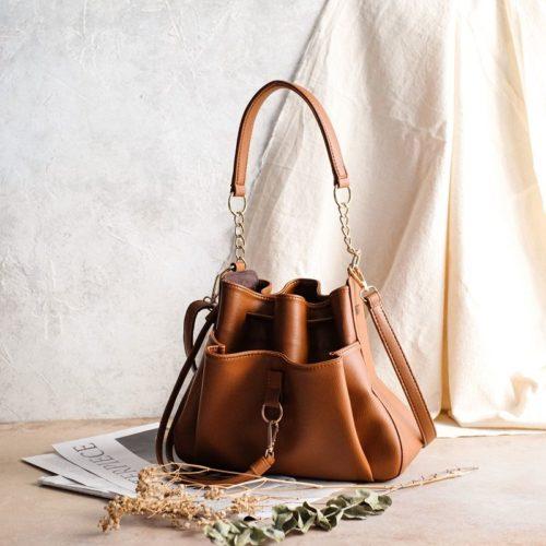 JT1900-brown Tas Handbag Serut Selempang Wanita Cantik Import