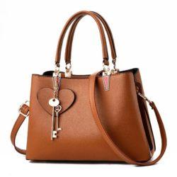 JT19131-brown Tas Handbag Pesta Cantik Gantungan Double Key