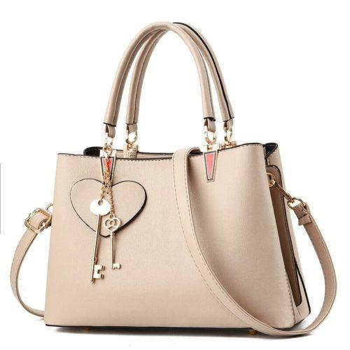JT19131-khaki Tas Handbag Pesta Cantik Gantungan Double Key