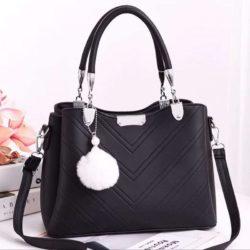 JT1933-black Tas Handbag Selempang Gantungan Pom Pom Wanita