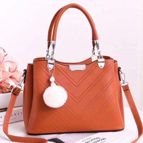 JT1933-brown Tas Handbag Selempang Gantungan Pom Pom Wanita