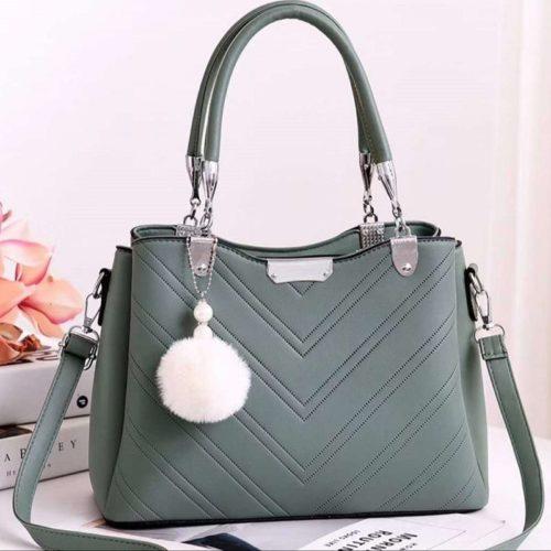 JT1933-green Tas Handbag Selempang Gantungan Pom Pom Wanita