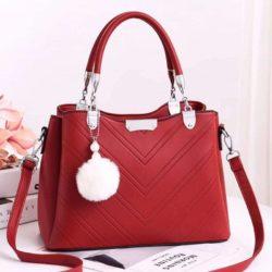 JT1933-red Tas Handbag Selempang Gantungan Pom Pom Wanita
