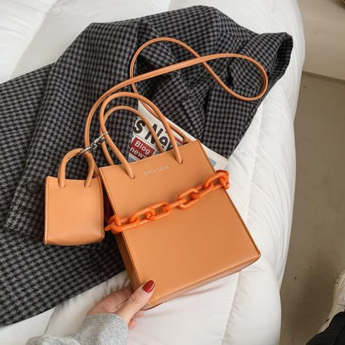 JT2025-orange Tas Handbag Modis 2in1 Box Style Wanita Cantik Import
