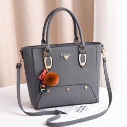 JT2040-gray Tas Handbag Pom Pom Elegan Import