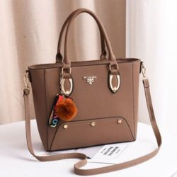 JT2040-khaki Tas Handbag Pom Pom Elegan Import