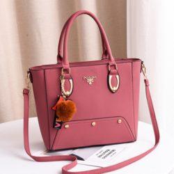 JT2040-pink Tas Handbag Pom Pom Elegan Import