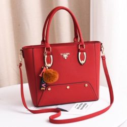 JT2040-red Tas Handbag Pom Pom Elegan Import