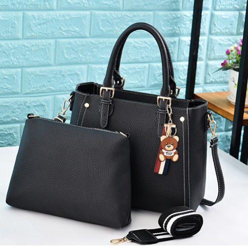 JT2641-black Tas Handbag Selempang Wanita Cantik 2in1