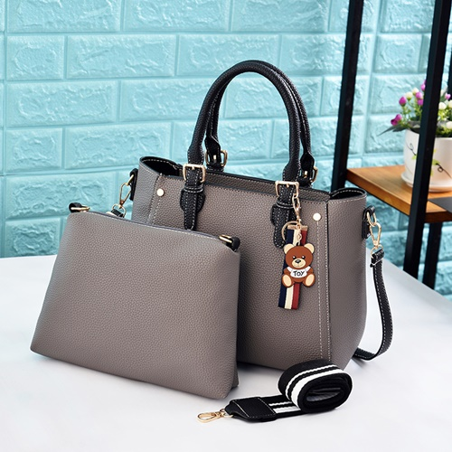 JT2641-gray Tas Handbag Selempang Wanita Cantik 2in1