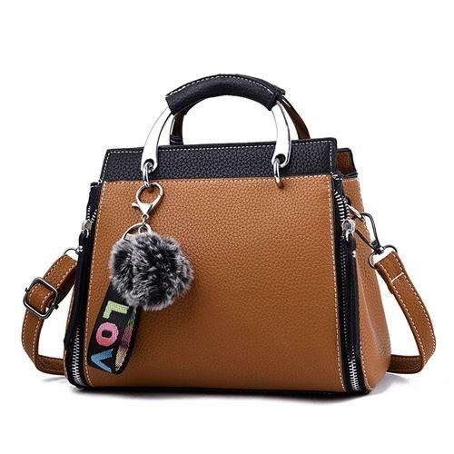 JT2810-brownblack Tas Handbag Pom Pom Cantik Terbaru