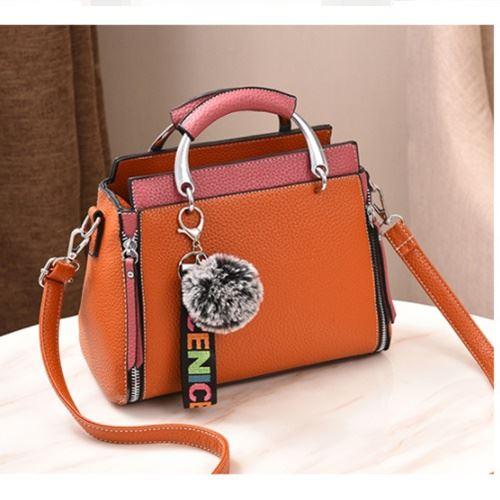 JT2810-brownpink Tas Handbag Pom Pom Cantik Terbaru
