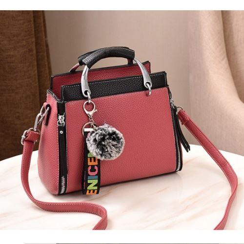 JT2810-darkpink Tas Handbag Pom Pom Cantik Terbaru