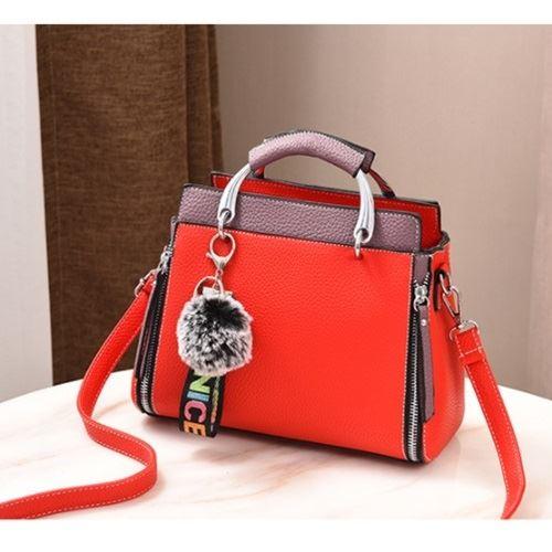 JT2810-red Tas Handbag Pom Pom Cantik Terbaru