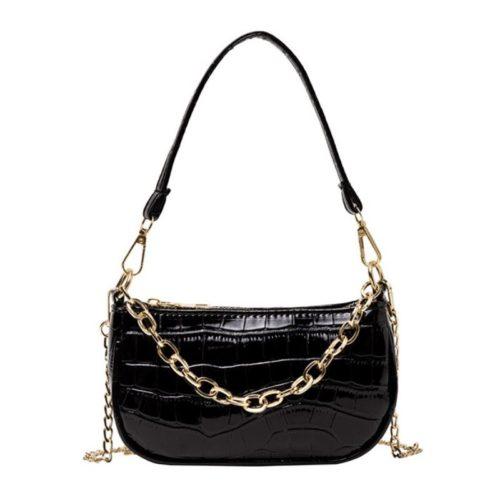 JT3026-black Tas Shoulder Bag Wanita Tali Selempang Rantai Import