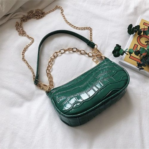 JT3026-green Tas Shoulder Bag Wanita Tali Selempang Rantai Import