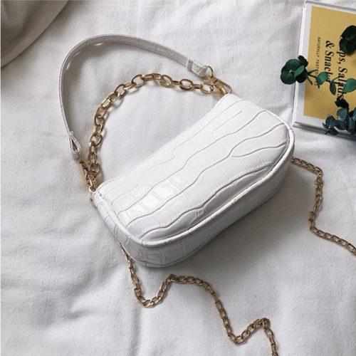 JT3026-white Tas Shoulder Bag Wanita Tali Selempang Rantai Import