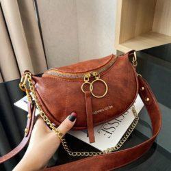 JT30337-brown Waist Bag Import Elegan Wanita Cantik