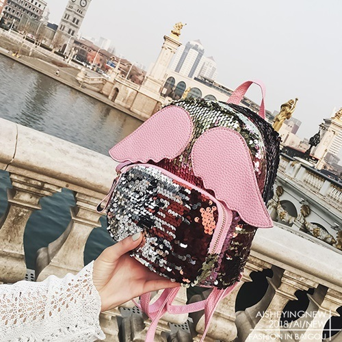 JT318-pink Tas Ransel SEQUIN Angel Fashion Import