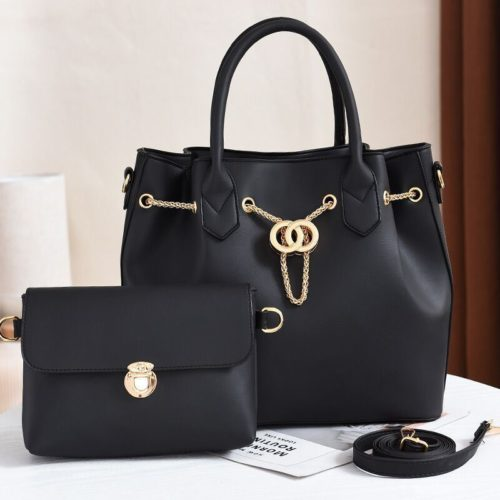 JT3186-black Tas Handbag Wanita 2in1 Import Terbaru