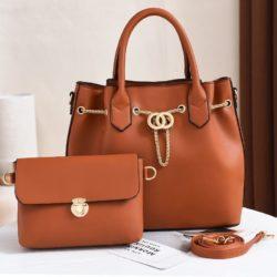 JT3186-brown Tas Handbag Wanita 2in1 Import Terbaru