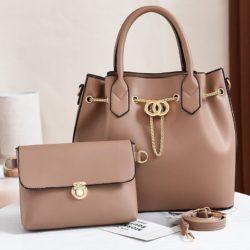 JT3186-khaki Tas Handbag Wanita 2in1 Import Terbaru