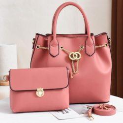 JT3186-pink Tas Handbag Wanita 2in1 Import Terbaru