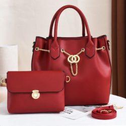 JT3186-red Tas Handbag Wanita 2in1 Import Terbaru