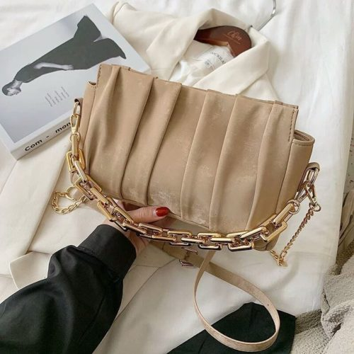 JT3446-khaki Tas Selempang Chain Modis Wanita Cantik Import