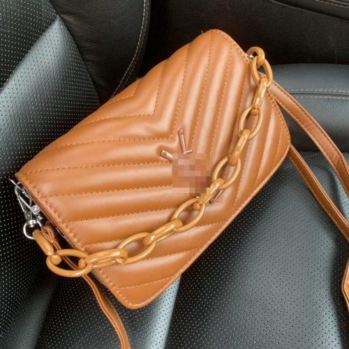 JT3770-brown Tas Selempang Rantai Modis Wanita Cantik