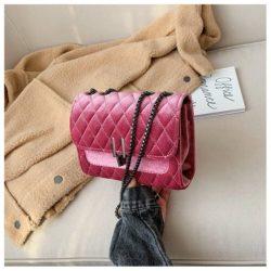 JT3947-pink Tas Clutch Selempang Rantai Velvet