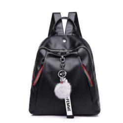 JT4110-black Tas Backpack Pom Pom Wanita Elegan Import