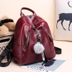 JT4110-red Tas Backpack Pom Pom Wanita Elegan Import