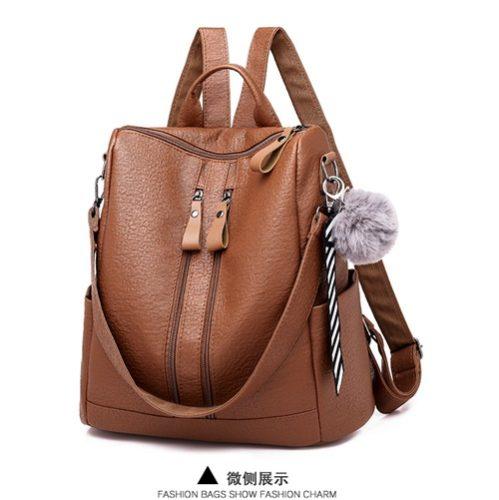 JT4310-brown Tas Ransel Wanita Pom Pom Bisa Selempang