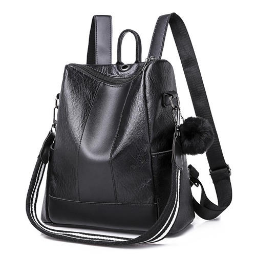 JT4329-black Backpack Ransel Stylish Pom Pom Bisa Selempang