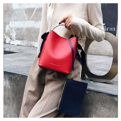 JT4508-red Tas Handbag Wanita Modis Kekinian 2in1 Import