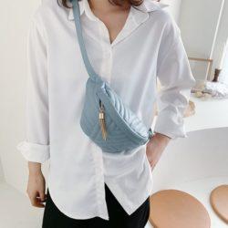 JT4542-blue Waist Bag Fashion Import Elegan Wanita