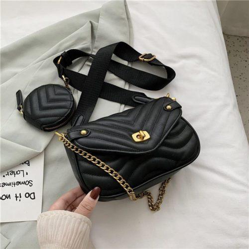 JT46111-black Tas Selempang Pesta 2in1 Wanita Cantik Import