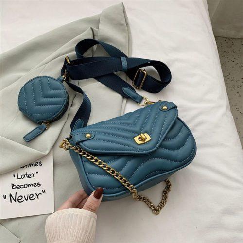 JT46111-blue Tas Selempang Pesta 2in1 Wanita Cantik Import