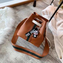 JT46321-brown Tas Selempang Serut Fashion Import Wanita