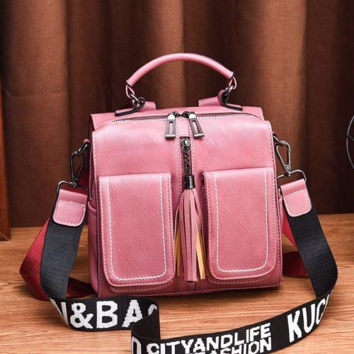 JT502-pink Tas Ransel Fashion (Bisa Selempang) Elegan Terbaru