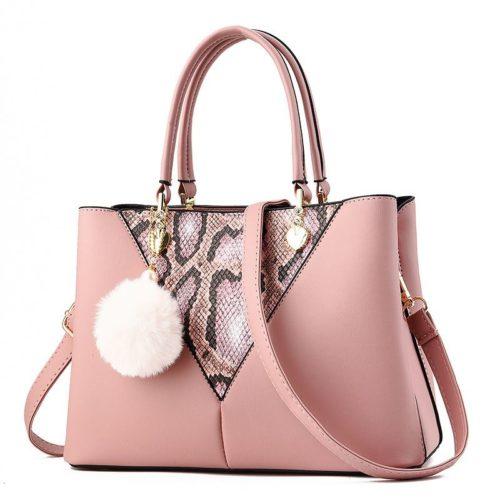 JT5183-pink Tas Handbag Gantungan Pom Pom Elegan Import