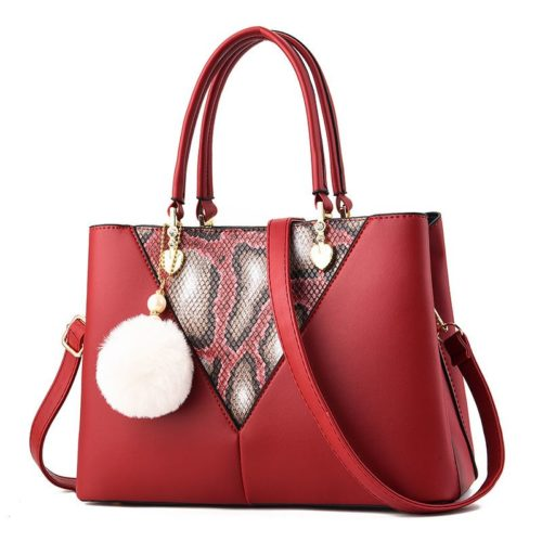 JT5183-red Tas Handbag Pom Pom Elegan Import Terbaru