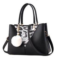 JT5183-black Tas Handbag Pom Pom Elegan Import Terbaru
