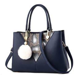 JT5183-blue Tas Handbag Pom Pom Elegan Import Terbaru