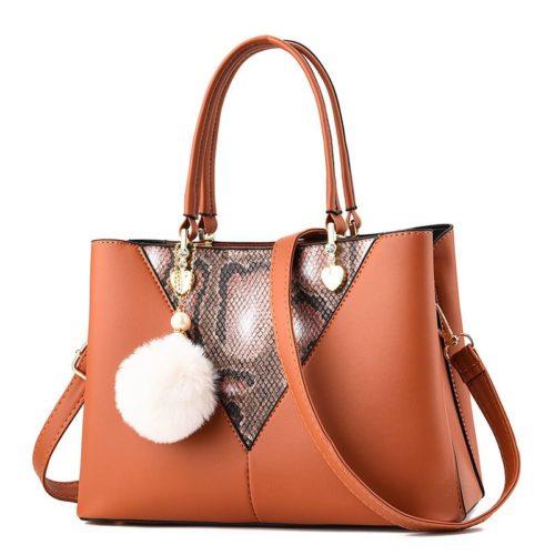 JT5183-brown Tas Handbag Pom Pom Elegan Import Terbaru