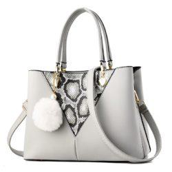 JT5183-gray Tas Handbag Pom Pom Elegan Import Terbaru