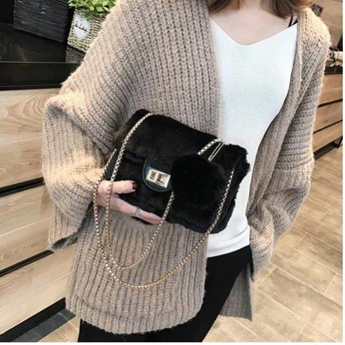 JT5213-black Tas Selempang Mini Bludru Pom Pom Wanita