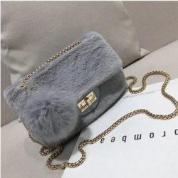 JT5213-gray Tas Selempang Mini Bludru Pom Pom Wanita